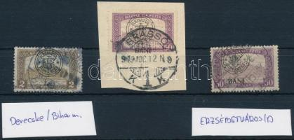 Nagyvárad 1919 3 db bélyeg különféle túlélő bélyegzésekkel; garancia nélkül