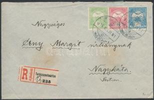 1916 Ajánlott levél 3 színű Turul bérmentesítéssel TURÓCZSZENTMÁRTON - Nagykáta