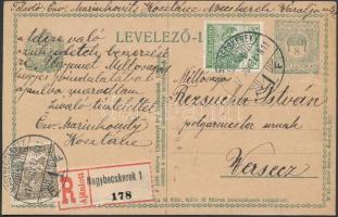1917 Ajánlott díjjegyes levelezőlap 25f díjkiegészítéssel