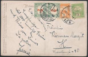 1916 Helyi képeslap 2x2f portó bélyeggel megportózva