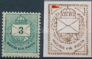 1881 Színesszámú 3kr II. lemez bal felső háromszög vésésjavítással