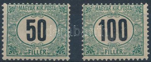 1903 Feketeszámú Portó 50f és 100f (VI a vízjelben) (5.700)