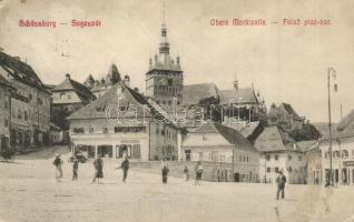 Segesvár, Sighisoara; Felső piac sor, W. Leonhardt és Josef Girscht üzlete / Obere Marktzelle / market square, shops (EK)