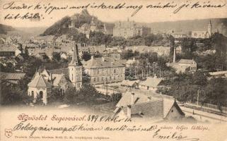 1899 Segesvár, Sighisoara; város teljes látképe. teutsch Frigyes kiadása / panorama view (EK)