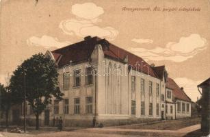 Aranyosmarót, Zlaté Moravce; Polgári leányiskola, kiadja Steiner Samu / girls school (ázott sarok / wet corner)