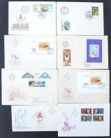 56 db FDC az 1960-1980-as évekből + 52 db bélyegzés nélküli bélyeges boríték, alkalmi bélyegzésű, közte kevés külföldi küldemény