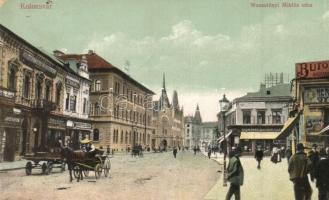Kolozsvár, Cluj; Wesselényi Miklós utca, Blaumzweig nagyáruháza, Economul, Takarékpénztár, / street, shops, bank