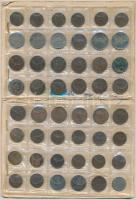 1893-1943. 1f-20f Br/Ni/Fe/Zn (48x) benne 20db 1f; 22db 2f; 4db 10f és 2db 20f, érmeberakó lapokon T:1--3