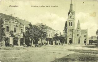 Munkács, Mukacevo; Fő utca, római katolikus templom, kiadja Bertsik Emilné / main street, church (Rb)