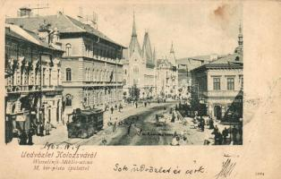 Kolozsvár, Cluj; Wesselényi Miklós utca, Posta, Ifj. pere istván és Szegedi Zoltán üzlete, villamos / street, shops, post, tram (EB)