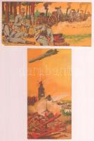 cca 1910 2 db Késmárky és Illés Árkád Játékáruház, Bőr- és díszműáruüzlet számolócédulák, military témájúak (Tábori konyhák, az egyik sarkánál kisebb hiány, Zeppelin munkában, szép állapotban), litho, 7x14 cm.