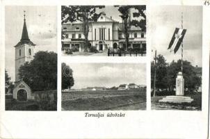 Tornalja, Tornala; templom, országzászló / church, Hungarian flag (EK)