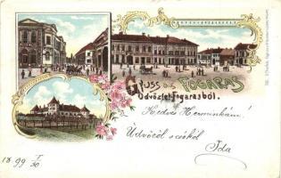 1899 Fogaras, Fagaras; vár, utcaképek / castle, streets. D. Thierfeld floral litho (EK)
