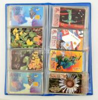 75 db vegyes telefonkártya berakóban