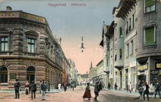 Nagyvárad, Oradea; Rákóczi út, Széchenyi Szálloda, Belvárosi áruház / street, hotel, shop