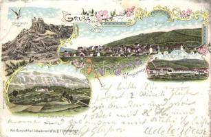 1899 Avtovac, K.u.K. Militarlager, Cordons-Caserne Cemerno, Kordonposten / military barracks, floral, Art Nouveau litho (EB)