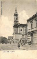 Zilah, Zalau; utcakép templommal, Fehérnemű tisztító intézet / street view, church (EK)