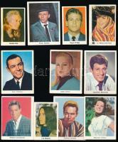 cca 1970 11 db Imperial rágógumi melléklet, rajta sztárok színes fotóval (Frank Sinatra, Jean-Paul Belmondo, Sean Connery...stb.), 7x4 cm és 8x6 cm közötti méretben.