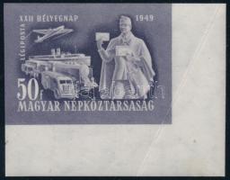 1949 Bélyegnap ívsarki vágott bélyeg (20.000) (saroktörés / corner fold)