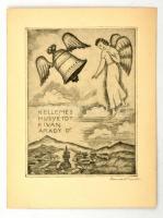 Conrad Gyula (1877-1959): Kellemes húsvétot kíván Arady D. Rézkarc, papír, jelzett, 12×9,5 cm