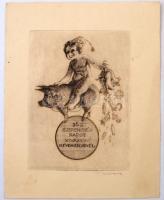 Révész Kornél (1885-1944): 365 szerencsés napot kívánok. Rézkarc, papír, 12,5×9 cm