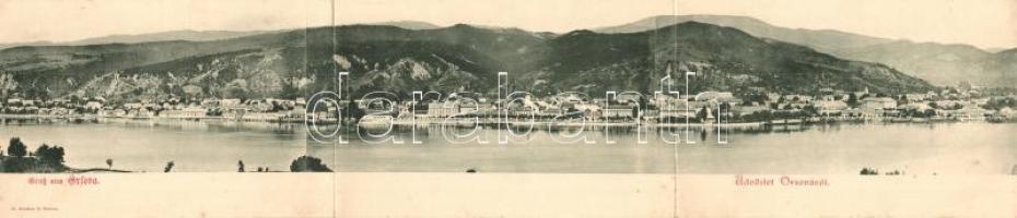 Orsova, három lapos panorámalap / three-tiled panoramacard (fl)
