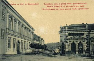 Balázsfalva, Blaj, Blasendorf; Templom utca, Görög katolikus gimnázium. W. L. 1564. / street, school, Consum (EK)