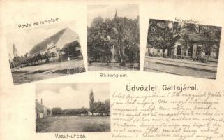 Gátalja, Gáttája, Gataia; Posta, templom, vasútállomás, Vasút utca. Dajkovits J. / post, churches, railwy station, street view