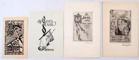 4 db ex libris, kettő jelzett ( Halász, Zöldi), rézkarc, fametszet, 9×5-10×6 cm