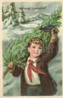 Kellemes ünnepeket kommunista propaganda, úttörő fiú, Művészeti Alkotások / communist propaganda, Hungarian Pioneer Movement, Christmas greeting card, advertisement (EK)