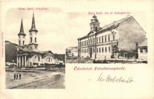 Felsőbánya, Baia Sprie; Római katolikus templom, fiú és leány iskola. kiadja Dácsek Péter / church, boy and girl school (EK)