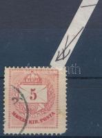 1874 5kr durva háromszög, finom gyöngy javítással