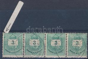 1881 3kr négyescsík lemezhibával