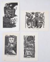 Réthy István (1909-1988): 13 db ex libris, fametszet, papír, több jelzett, 10×7-13×8 cm