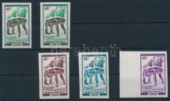 Majom fogazott és vágott bélyeg + háromféle vágott színpróba Monkies perforated and imperforated stamp + 3 imperforated colour proof