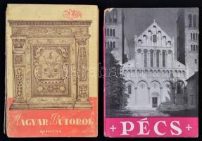 Két officina könyv a sorozatból: Pécs, Magyar bútorok. Bp., 1941, 1944. Officina. Egyik sérült gerinccel