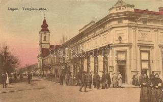 Lugos, Lugoj; Templom utca, kávéház / street, café (EK)