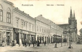 Komárom, Komárno; Nádor utca, Rehberger Sándor, Nagy Géza és Gyula, Fektor György, üzletei / street, shops