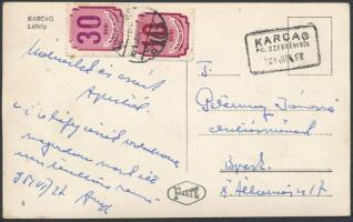 1951 Képeslap KARCAG pályaudvari bélyegzéssel 10f + 30f portó bélyeggel