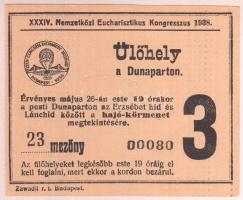 1938 Eucharisztikus Kongresszus ülőhely jegy