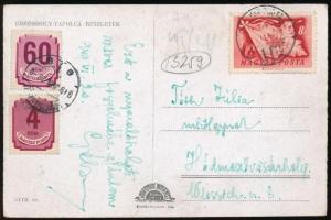 1949 Képeslap (VAS)GYÁR POSTA 113 bélyegzéssel 4f + 60f Forint-fillér portó bélyeggel