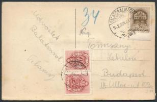 1942 Képeslap 10f+24f Barnaportó bélyeggel