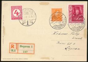 1935 Ajánlott helyi képeslap Rákóczi 20f + Arcképek 2f + 4f Pengő-filléres portó bélyeggel, Bélyegkiállítás alkalmi bélyegzéssel