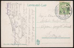 1914 Képeslap Turul 5f bérmentesítéssel BUDAPEST - ÉRSEKÚJVÁR 390 A vasúti bélyegzéssel