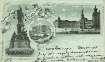 Arad, Vértanú szobor, Színház, Lengyel Lipót kiadása / martyrss statue, theatre, floral Art Nouveau litho (EK)