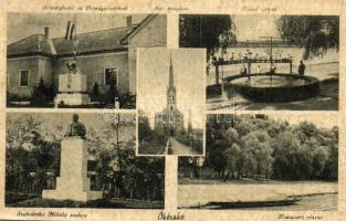 Ókécske, Tiszakécske; községháza, országzászló, Szabolcska Mihály szobor (EK)