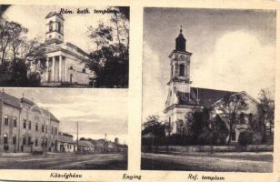 Enying, Római katolikus és református templom, községháza