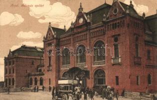 Arad, vasútállomás, pályaudvar, automobil, autóbusz / railway station, automobile, autobus (EK)