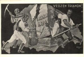 1920 Vesszen Trianon! kiadja Magyar Nemzeti Szövetség / Irredenta, folklore s: Zsolt (EK)