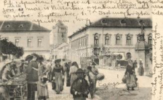 Arad, Tököly tér, piac / square, market (r)